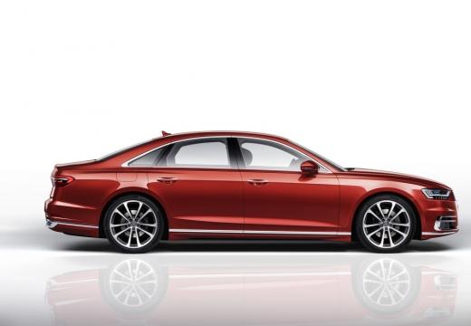 AUDI A8 sedan czerwony jasny boczny prawy
