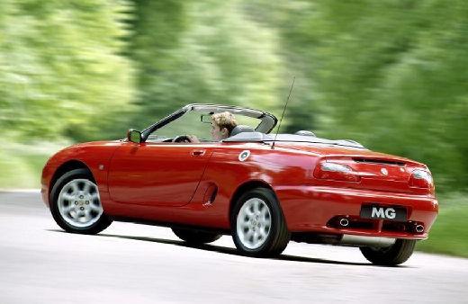 MG F I roadster czerwony jasny tylny lewy