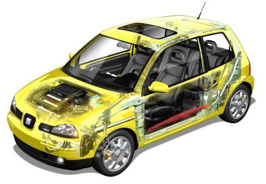 SEAT Arosa II hatchback żółty prześwietlenie