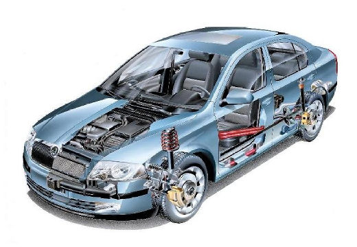SKODA Octavia II I hatchback niebieski jasny prześwietlenie