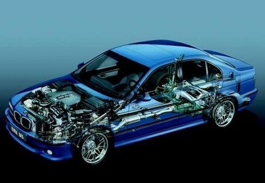BMW Seria 5 E39 sedan niebieski jasny prześwietlenie