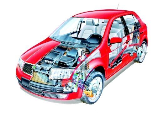 SKODA Fabia II hatchback czerwony jasny prześwietlenie