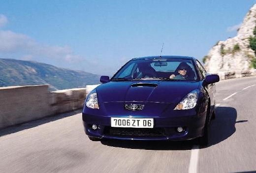 Toyota Celica coupe niebieski jasny przedni