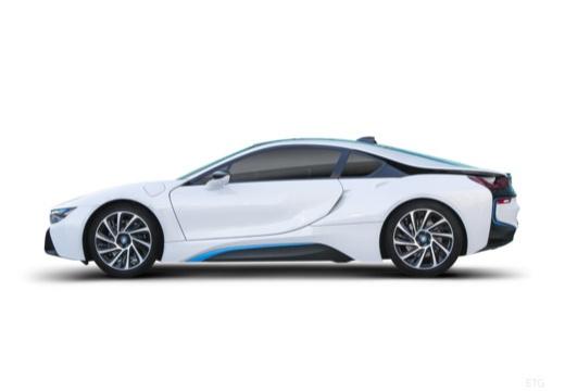 BMW i8 coupe biały boczny lewy