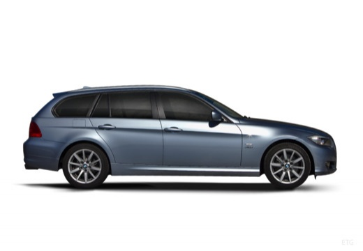 BMW Seria 3 Touring E91 II kombi niebieski jasny boczny prawy