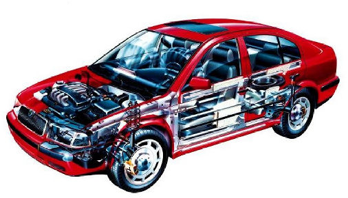 SKODA Octavia II hatchback czerwony jasny prześwietlenie