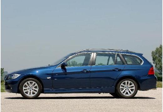 BMW Seria 3 Touring E91 I kombi niebieski jasny boczny lewy