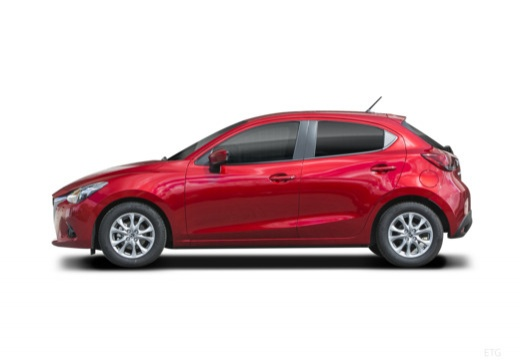 MAZDA 2 hatchback czerwony jasny boczny lewy