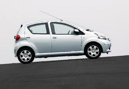 Toyota Aygo I hatchback niebieski jasny boczny prawy