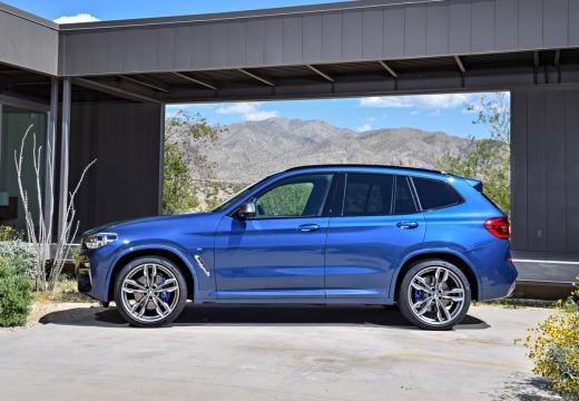 BMW X3 kombi niebieski jasny boczny lewy