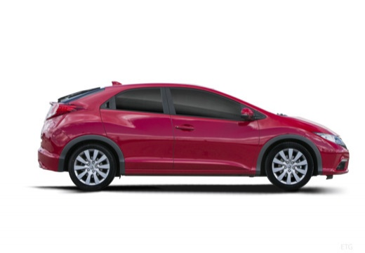 HONDA Civic VIII hatchback czerwony jasny boczny prawy