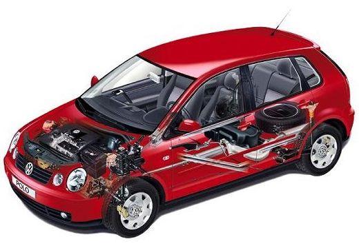 VOLKSWAGEN Polo IV I hatchback czerwony jasny prześwietlenie