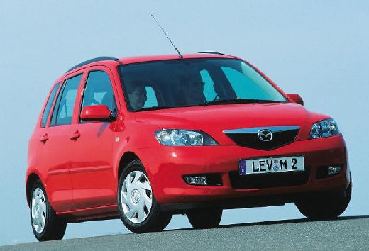 MAZDA 2 hatchback czerwony jasny przedni prawy