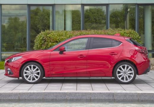 MAZDA 3 V hatchback czerwony jasny boczny lewy