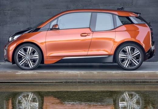 BMW i3 hatchback pomarańczowy boczny lewy