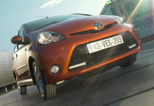 Toyota Aygo III hatchback pomarańczowy przedni prawy