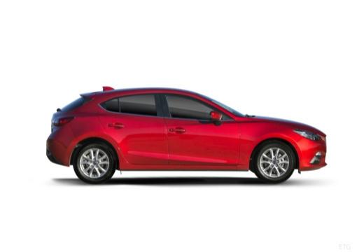 MAZDA 3 V hatchback czerwony jasny boczny prawy