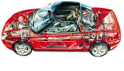 MG F I roadster czerwony jasny prześwietlenie