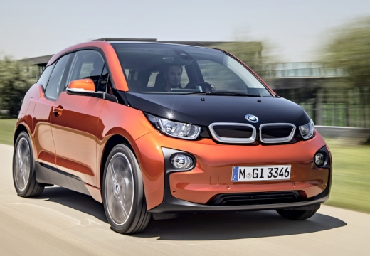 BMW i3 hatchback pomarańczowy przedni prawy