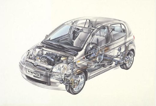 Toyota Yaris I hatchback silver grey przekrój