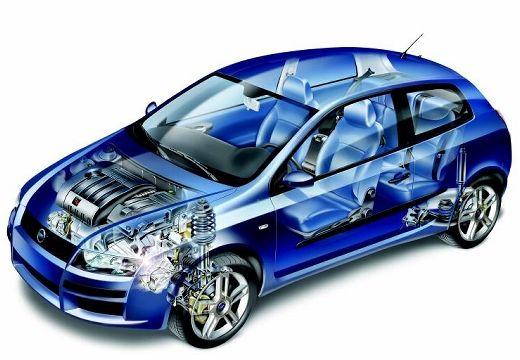 FIAT Stilo II hatchback niebieski jasny prześwietlenie