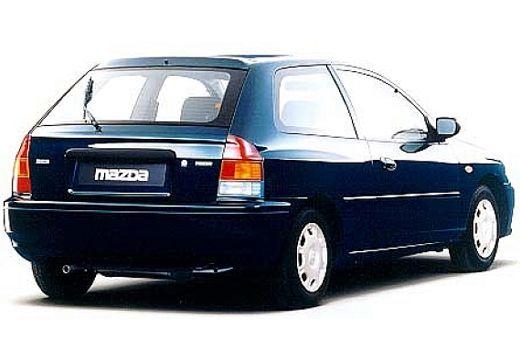 MAZDA 323 hatchback niebieski jasny tylny prawy