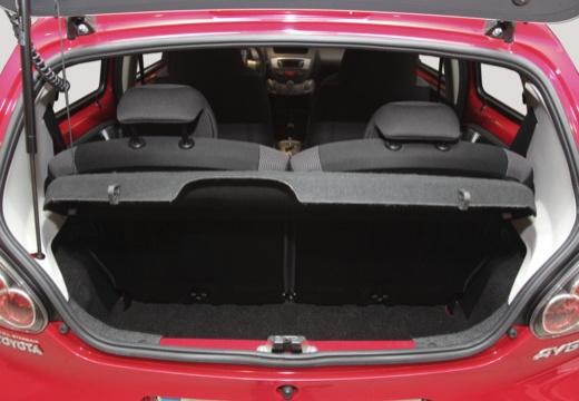 Toyota Aygo III hatchback czerwony jasny przestrzeń załadunkowa