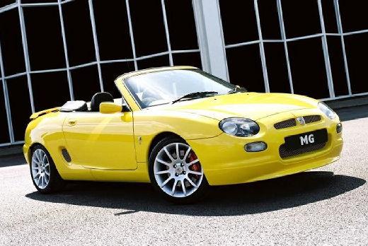 MG F I roadster żółty przedni prawy