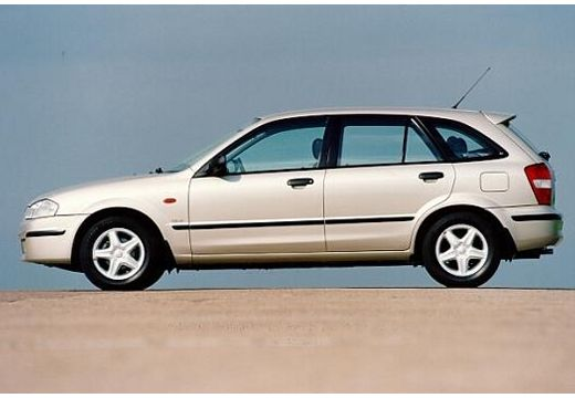 MAZDA 323 hatchback silver grey boczny lewy