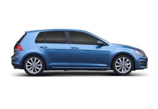 VOLKSWAGEN Golf e- I hatchback niebieski jasny boczny prawy