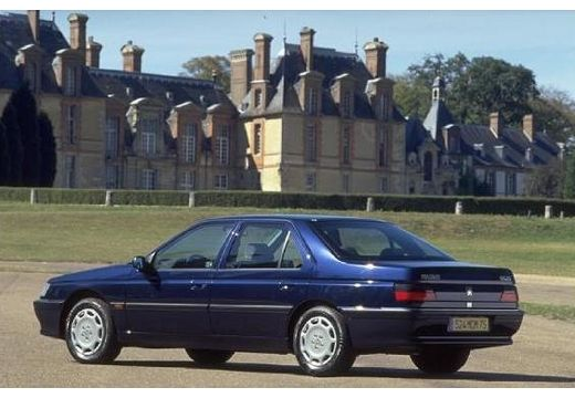 PEUGEOT 605 sedan niebieski jasny tylny lewy