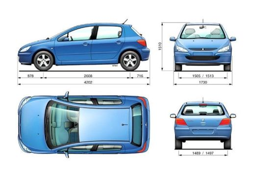 PEUGEOT 307 I hatchback niebieski jasny inne