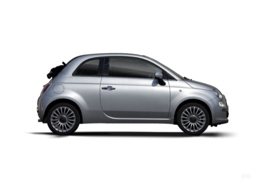 FIAT 500 C I kabriolet silver grey boczny prawy