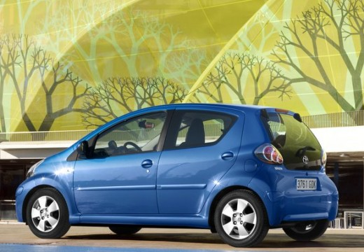 Toyota Aygo hatchback niebieski jasny tylny lewy