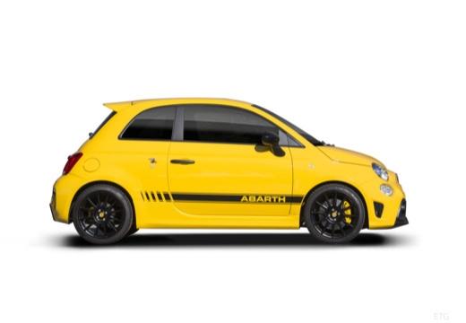 ABARTH 500 hatchback żółty boczny prawy
