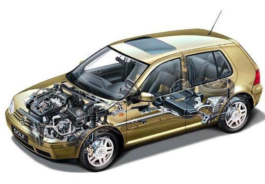 VOLKSWAGEN Golf IV hatchback złoty prześwietlenie