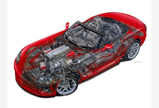 DODGE Viper Roadster coupe czerwony jasny prześwietlenie